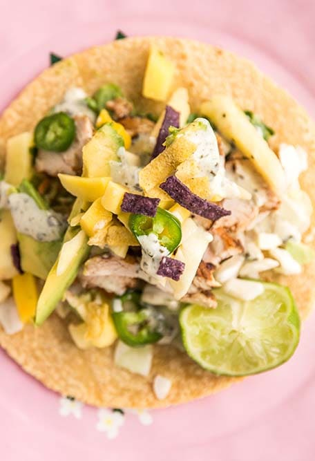 Close up of pineapple mango chicken taco