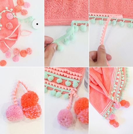 6 images showing how to make DIY pompom beach towel