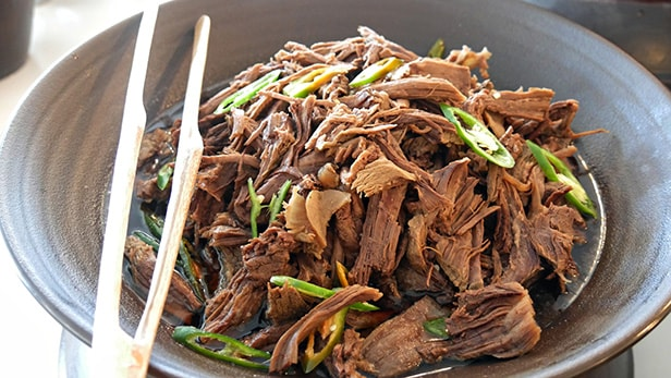 pulled pork in a pan