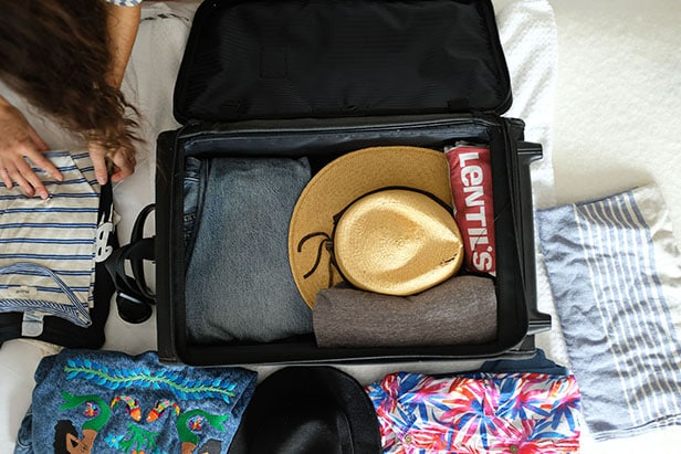 Overhead photo of suitcase being packed