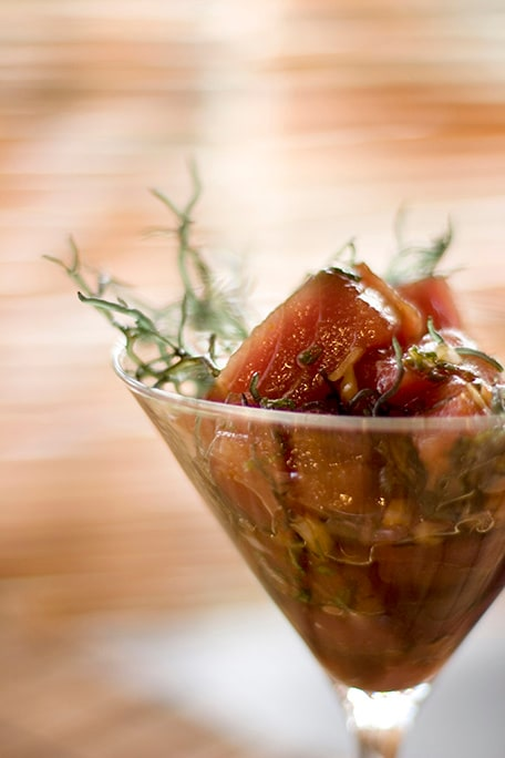 hawaiian poke in a martini glass
