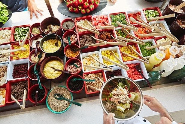 fresh creations salad bar at serenity deck