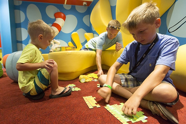 kids playing at dr seuss bookville