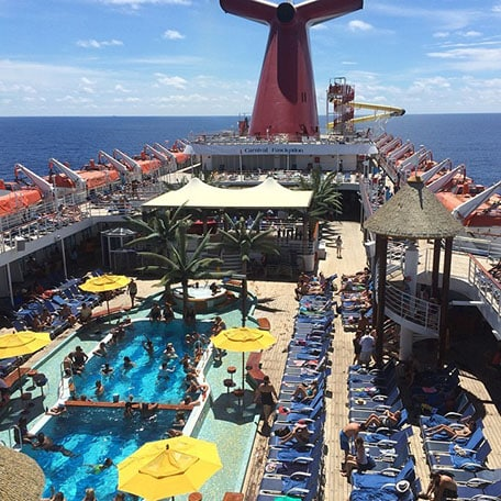 overhead view of pool deck onboard a carnival ship