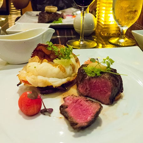 maine lobster tail and grilled filet mignon at the onboard steakhouse