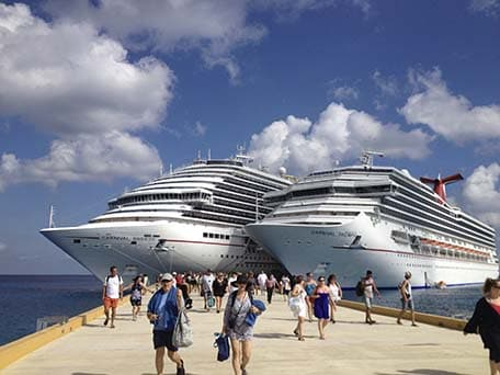 Carnival Triumph and Carnival Breeze docked in Cozumel