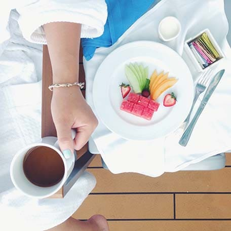 coffee and fresh fruit breakfast