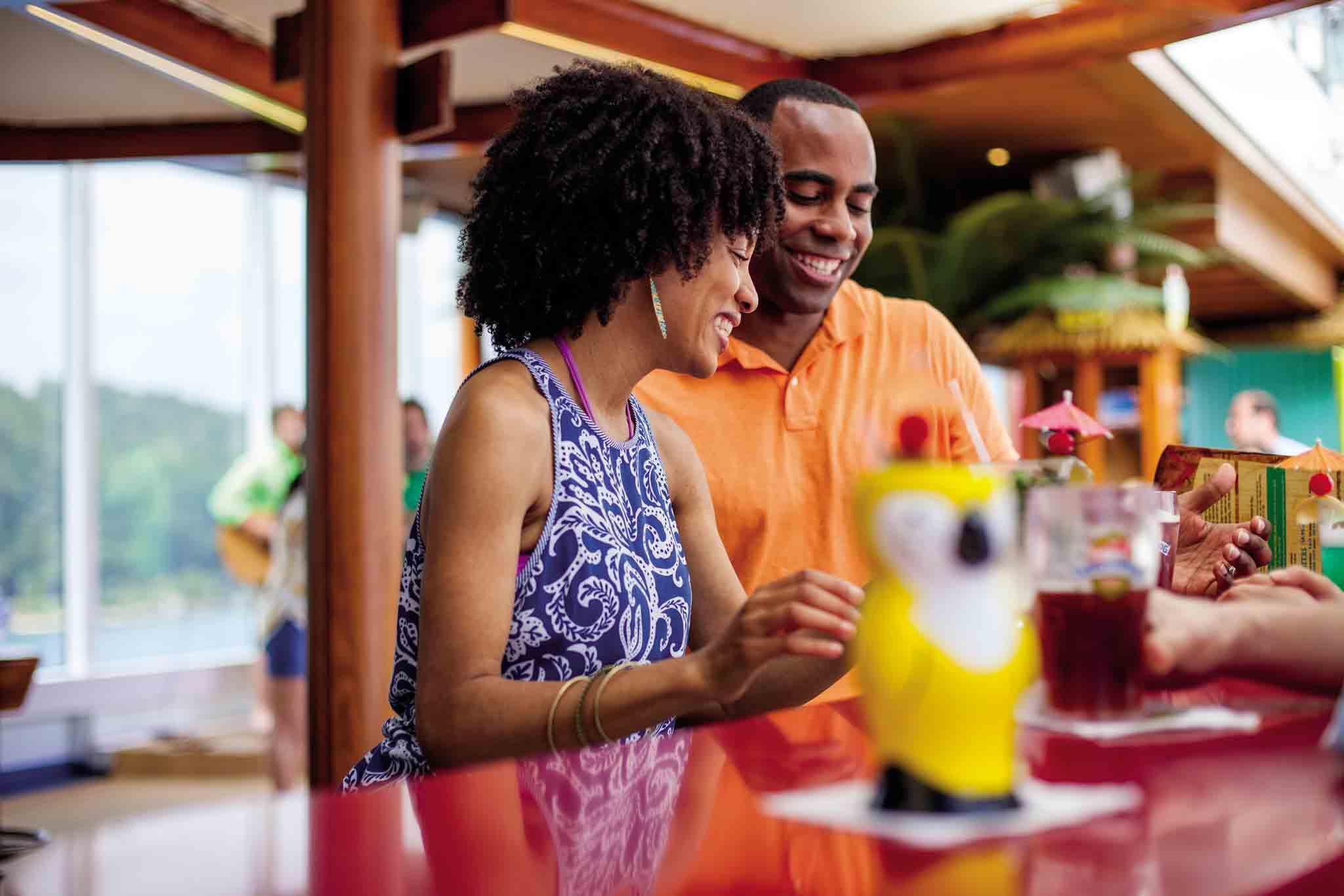 couple having drinks at blueiguana tequila bar