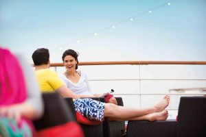 couple relaxing at onboard deck