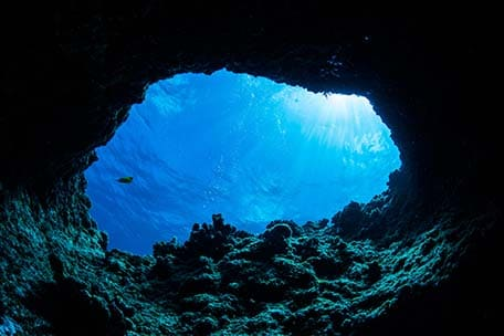 view of the water while cave diving