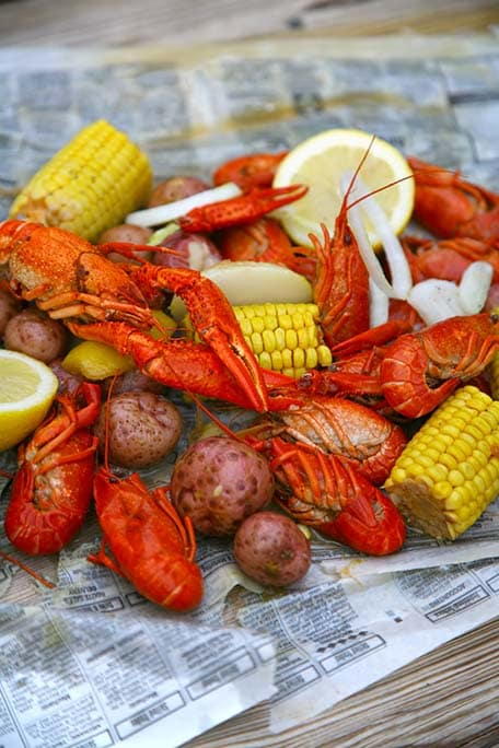 crawfish boil with potatoes and corn in new orleans