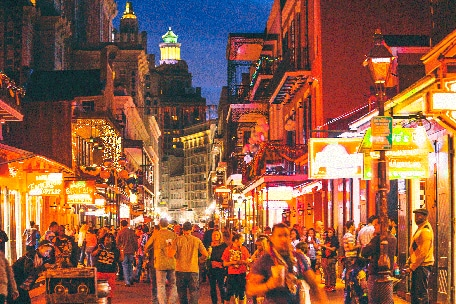night time on bourbon street full with people