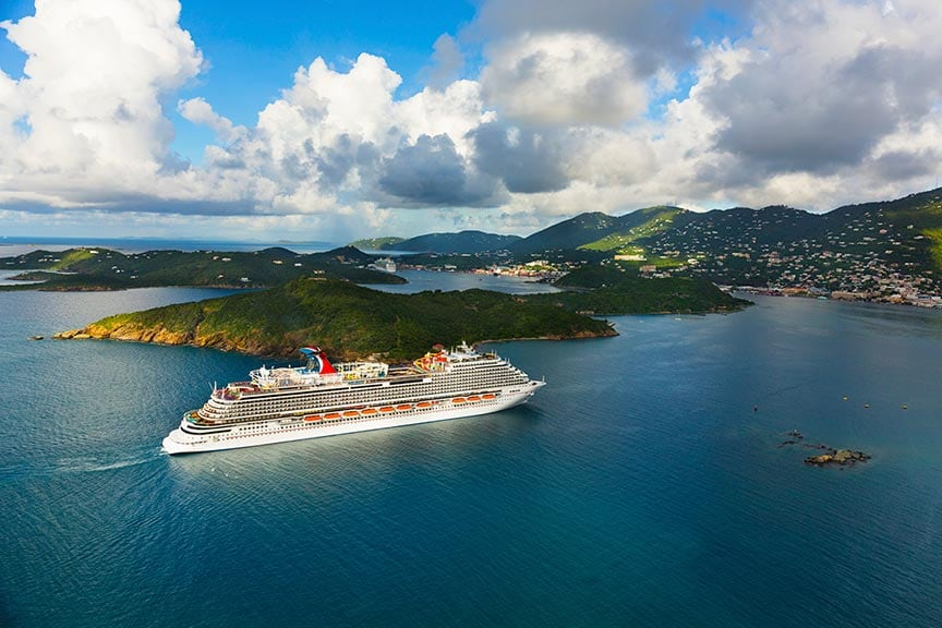 carnival vista sailing into st. thomas