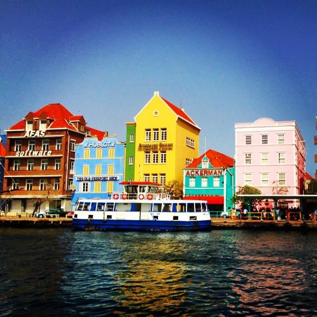 colorful houses on the coast of curacao