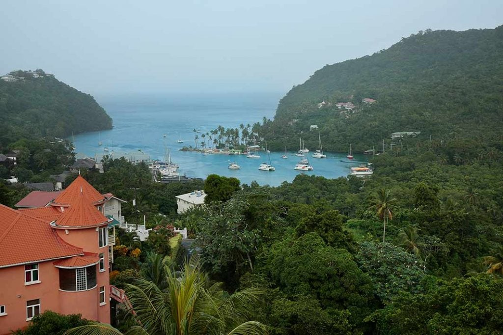 view of marigot bay on top of mountain in st lucia