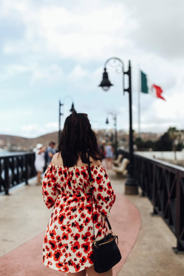 woman in red and white dress enjoying the view as mexican flag waves in the background