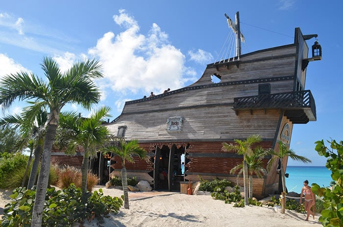 the infamous captain morgan on the rocks bar located in half moon cay