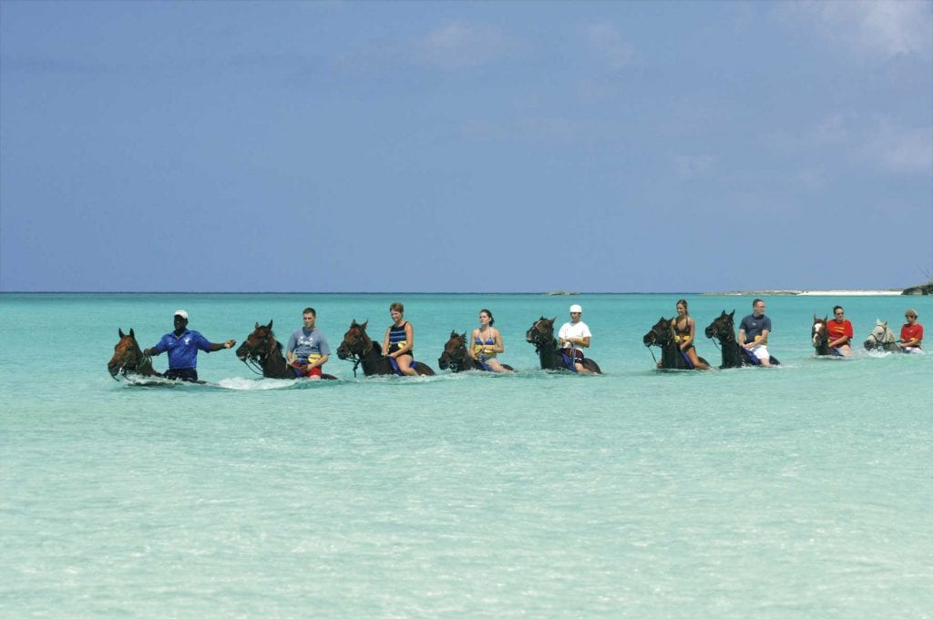 tour guide taking group through the ocean shore on horseback