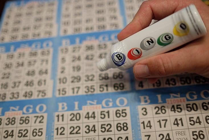 bingo board and marker
