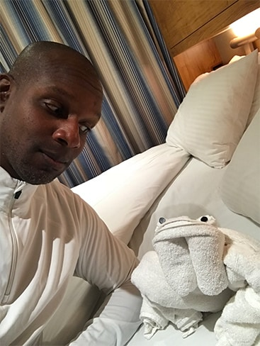 Doyin's selfie with towel animal