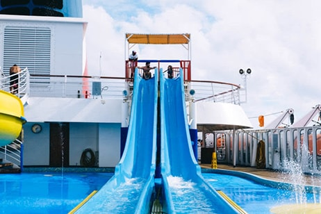 Two blue waterslides on ship
