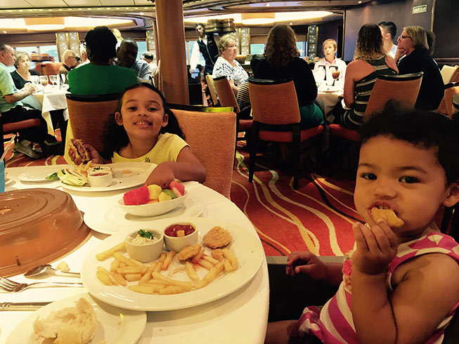 Doyin's kids eating on ship