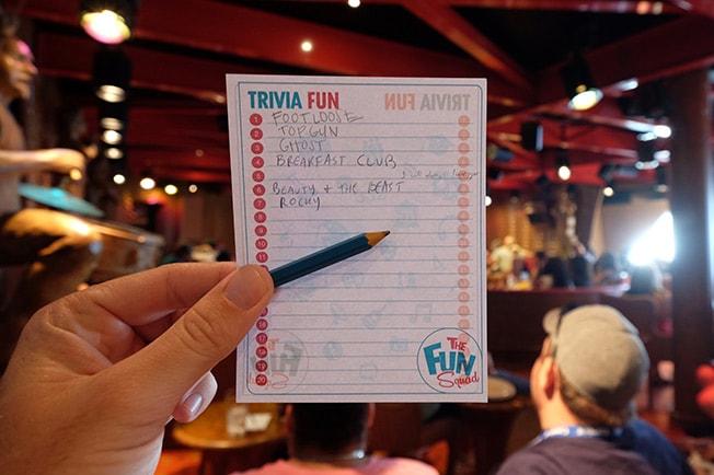 trivia pad and pencil
