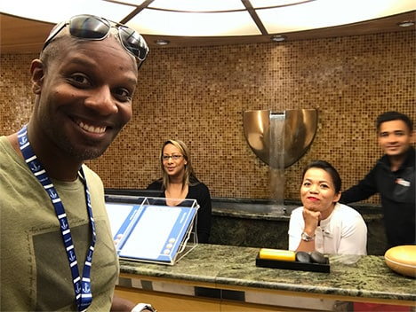 Doyin's selfie with the spa staff