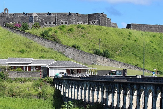 stone bridge that leads to Brimstone Hill Fortress National Park in st kitts