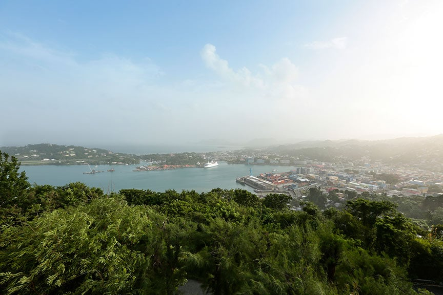aerial view of the Castries, st lucia