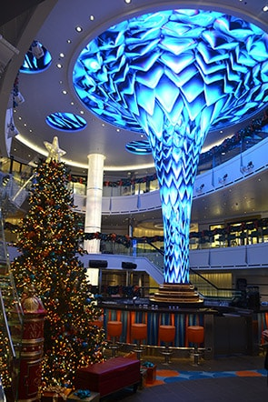 Christmas tree and DreamScape in Carnival Vista's Atrium