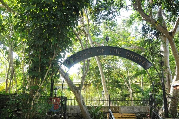 entrance of the garden of the groves in freeport, the bahamas