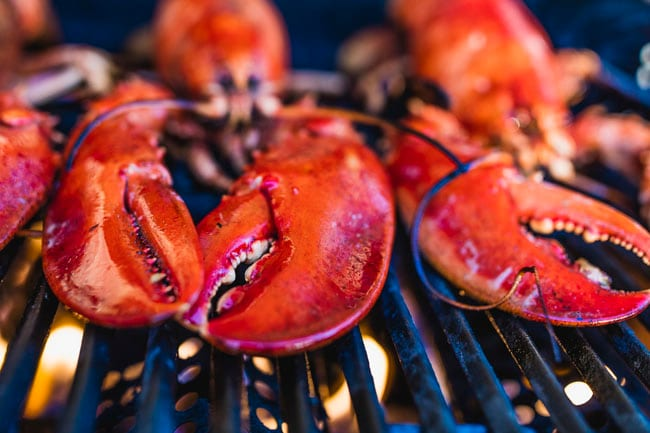 grilling lobsters for lunch in antigua