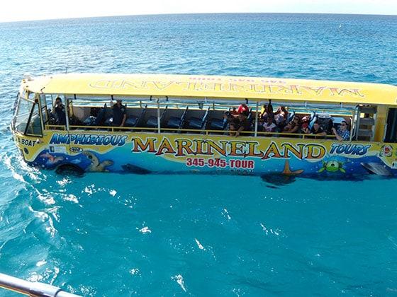 hydra-terra amphibious bus sailing the ocean in grand cayman