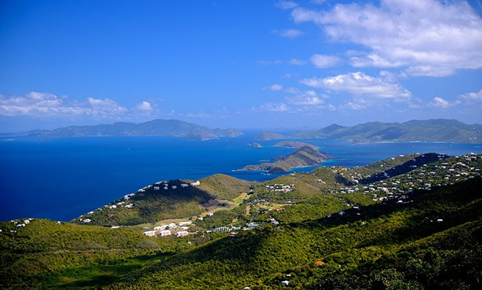 mountain view of st thomas and its neighboring islands