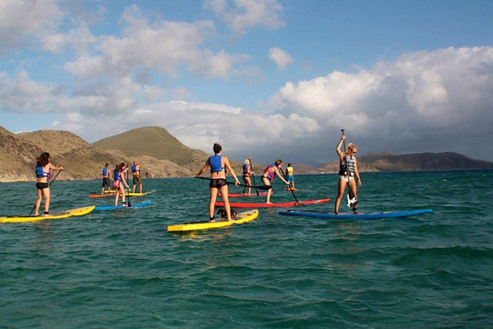 people stand up paddle boarding along the mountainous coast of st kitts