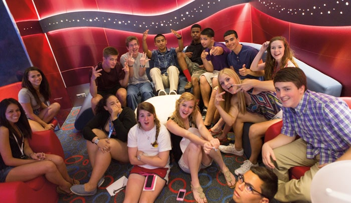 teenagers socializing and having fun at club o2 onboard carnival horizon