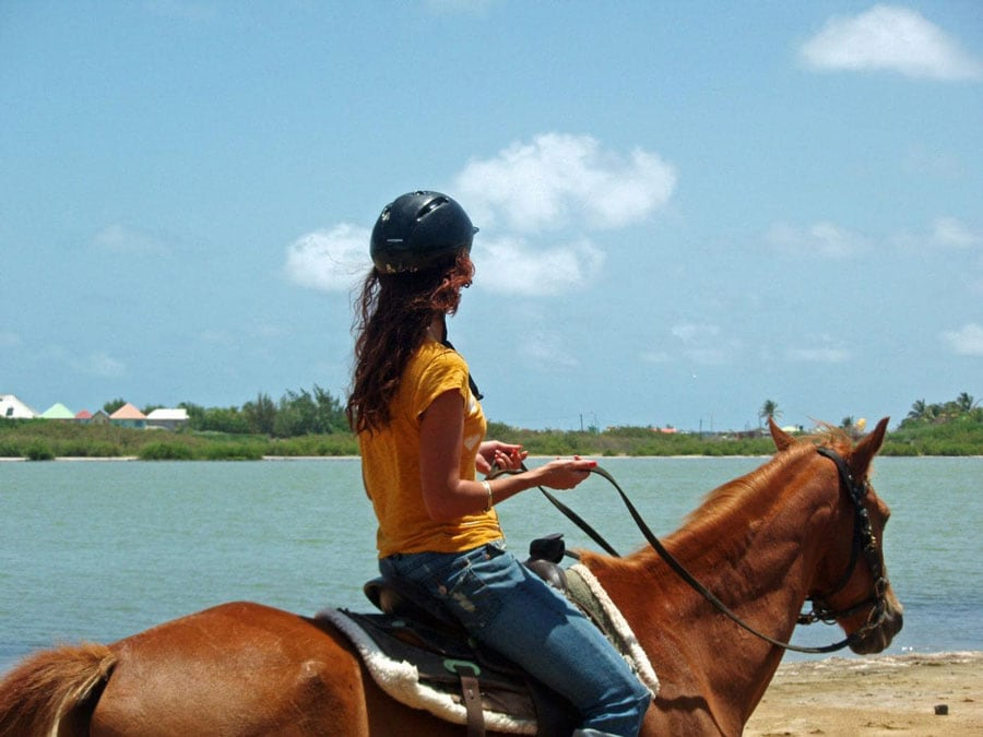 woman rides on horseback along st maarten coast
