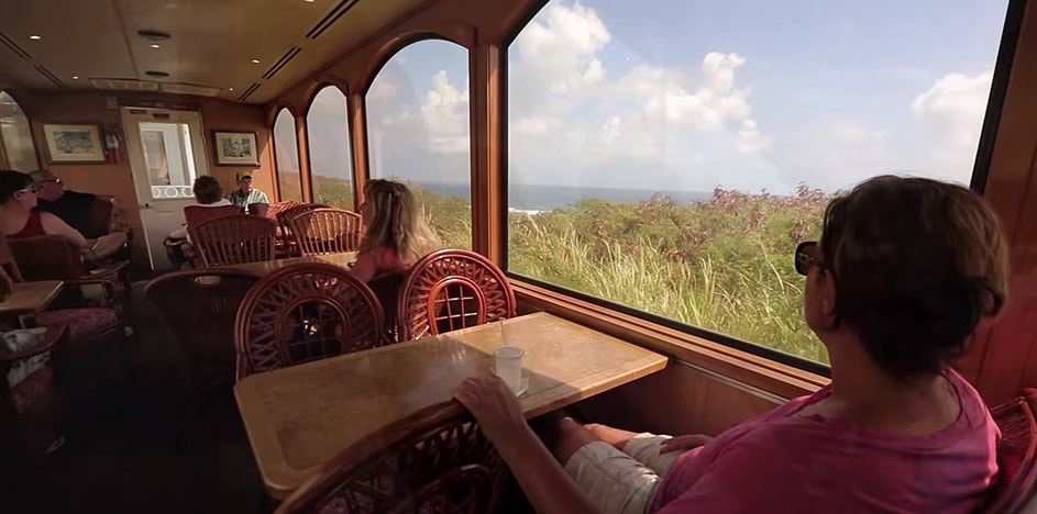 woman looking out the window during a trip along the st kitts railway