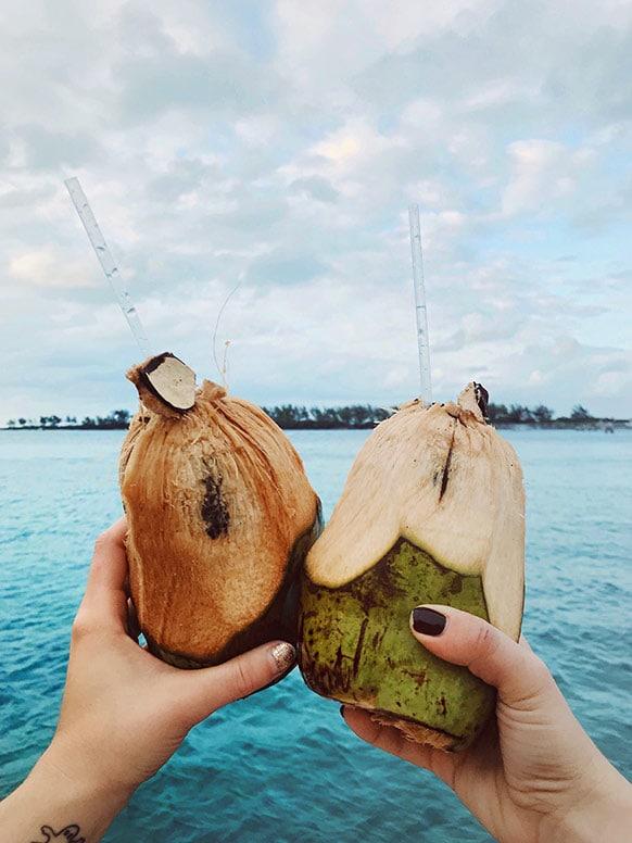 Coconut cheers over water