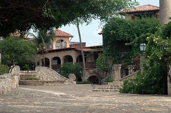 cobblestone streets and 16th century style buildings in altos de chavon