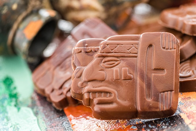belize chocolate in the shape of mayan glyphs