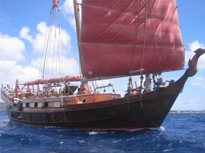 Siamese junk - sailing vessel named Samur sailing Bonaire