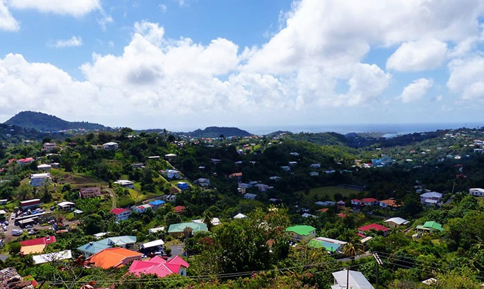 brightly colored homes in the harbor town of St George, Grenada