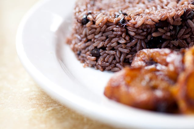 a dish of moros y cristianos (cuban rice and beans)