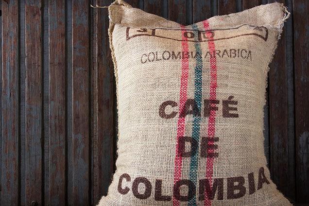 café de colombia written on a bag of colombian coffee