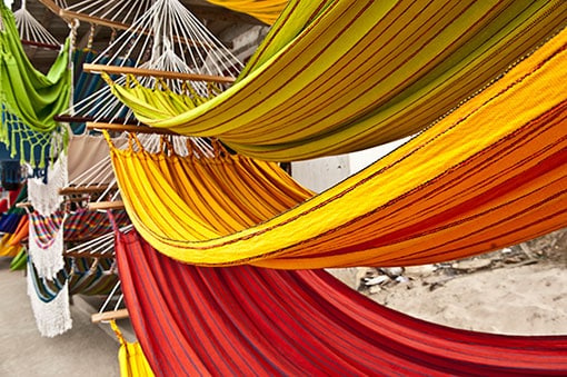 yellow, green, and red hammocks for sale in limon