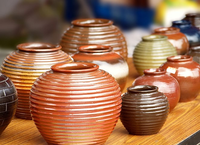 handmade pottery in different colors