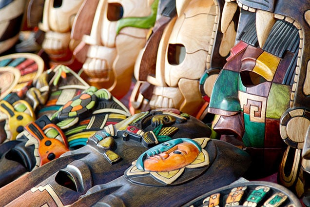 wooden masks hand carved in antigua