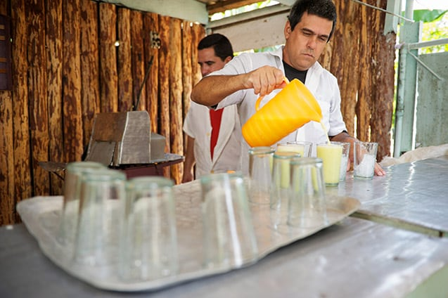 a street vendor pours fresh sugarcane juice into glasses for customers